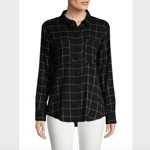 NWT Sanctuary Windowpane button down top